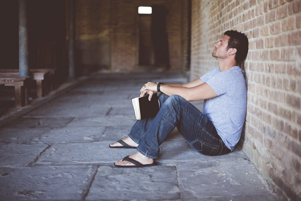 alone, book, brick wall