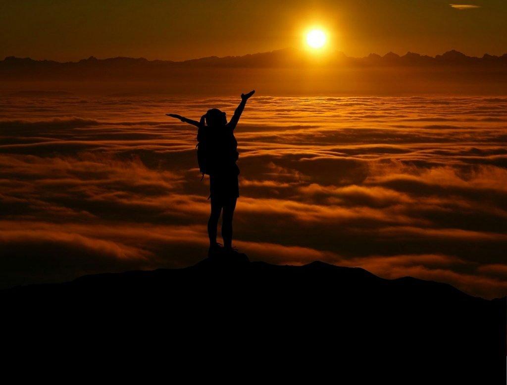 girl, mountain, view
