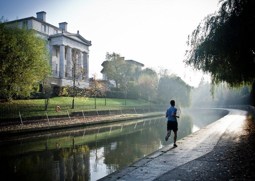 runner, canal, sport