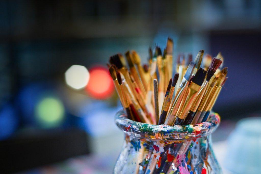 brushes, painter, work shop